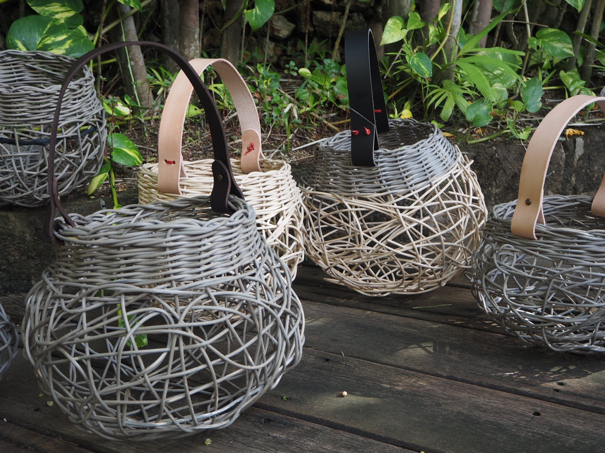 Weaving Woven Basket with Leather Handle - Accommodation Brisbane